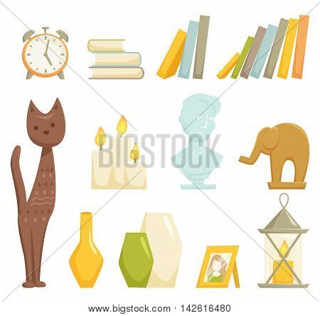 Interior decoration elements set. Interior decor isolated on wihte. Cartoon statuette cat and elephant, books, marble bust, candle lamp, vase, photo frame, alarm closk icon. Interior decor elements.