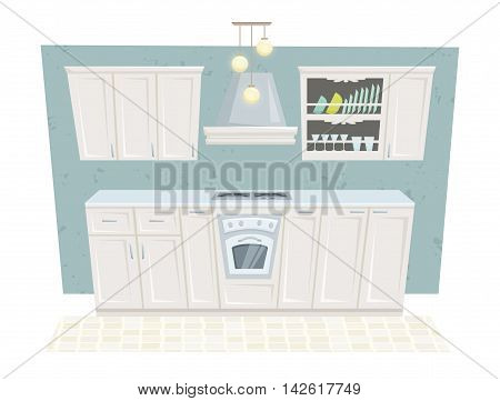 Kitchen interior with furniture and decoration in classic style. Kitchen interior cartoon vector illustration. Kitchen furniture: container, cabinet, cupboard, stove, shelf. Classical interior