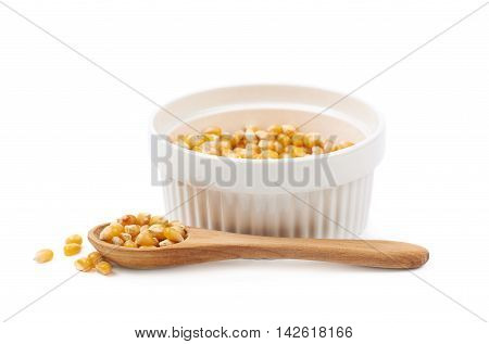 White ramekin dish filled with multiple corn kernels and a serving wooden spoon, composition isolated over the white background