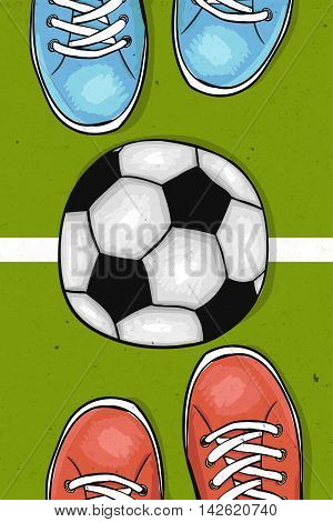 Football field with ball in the center between the two football clubs . The sports poster. Vector illustration