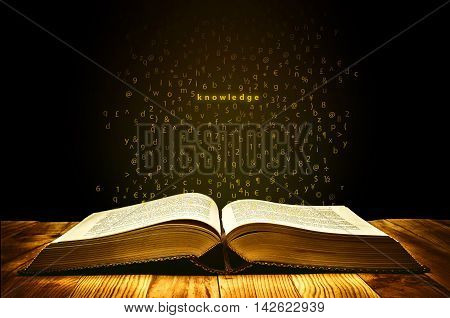 Book of Knowledge with golden aura and letters flies from the pages