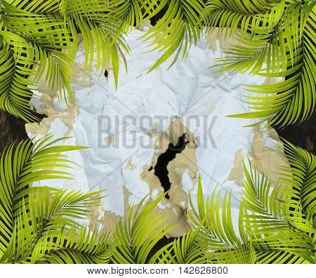mix old paper background with palm leaf