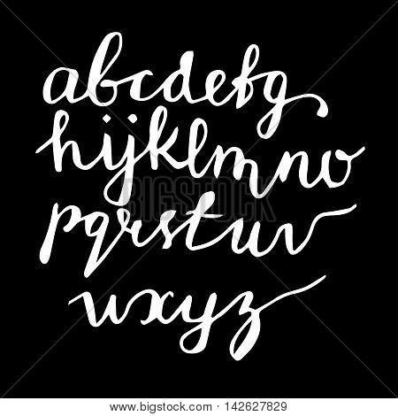 Vector handwritten brush script. White letters on black background.