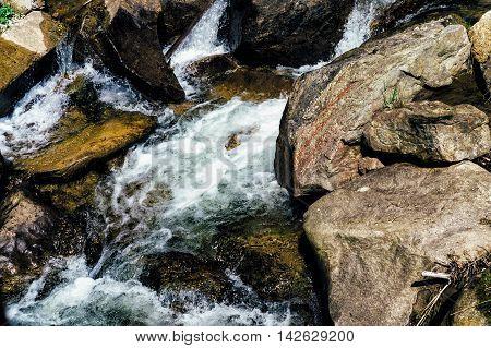 Mountain River on the way to Mount Hoverla Karpaty Ukraine