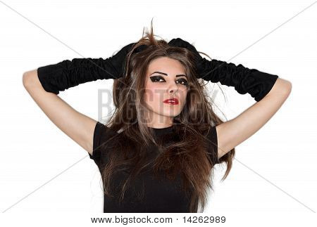 Young Pretty Lady In Black Velvet Gloves Holding Her Hairs, Ring Flash Studio Portrait