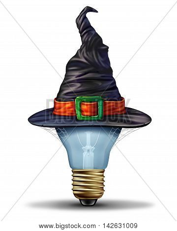 Halloween ideas concept as a lightbulb wearing a costume witch or sorcerer hat as an autumn festive seasonal symbol for creative october season celebration with 3D illustration elements.