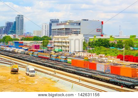 Freight trains on city cargo terminalTransportation by rail