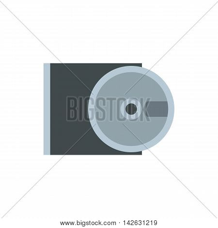 CD rom and disk icon in flat style isolated on white background. Equipment symbol