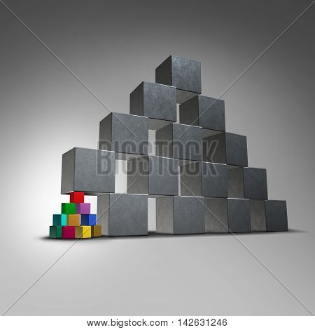 Group teamwork support and groundwork icon as a small team of diverse cubes supporting a large pyramid structure as a symbol for a community working together helping a business organization metaphor as a 3D illustration.