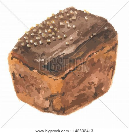 Watercolor brown bread. Pastry art for decoration, cafe or restaurant menu. Isolated bread on white background.