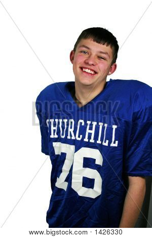 A Smiling Young Linebacker Isolated Over White