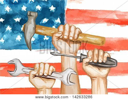 Hands with tools on the background of the USA flag. happy labor day watercolor illustration
