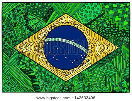 Brazil flag. Ethnic national symbol of Brazil and Rio de Janeiro. Zentangle flag illustration. Brazilian sport and culture. Hand drawn effect vector for web banners clothes or printed products.