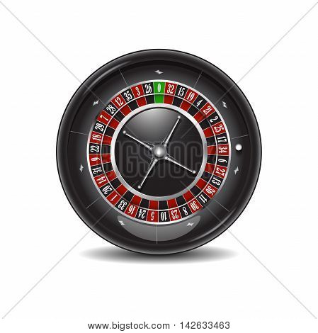Casino roulette wheel isolated on a white background.