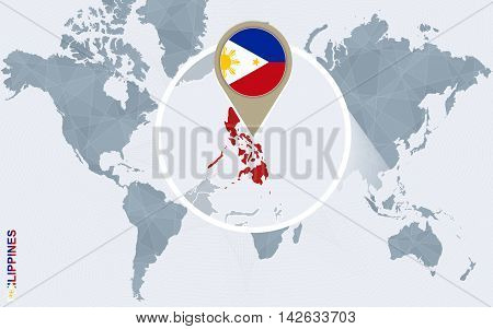Abstract Blue World Map With Magnified Philippines.