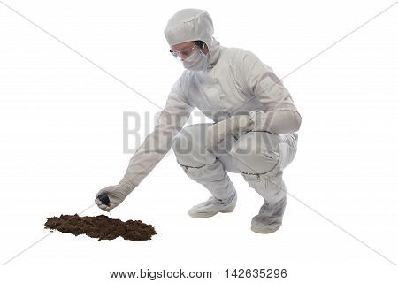 man measuring soil pollution, on a white background