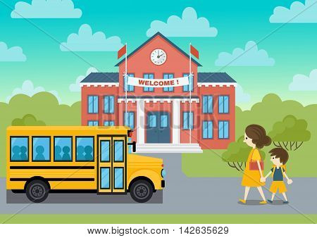 School building and yeollow bus and schoolchild vector  illustration. Welcom school