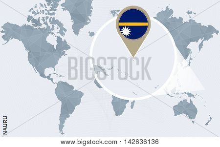 Abstract Blue World Map With Magnified Nauru.