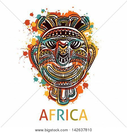 African tribal mask with ethnic geometric ornament and splashes in watercolor style. Hand drawn vector illustration