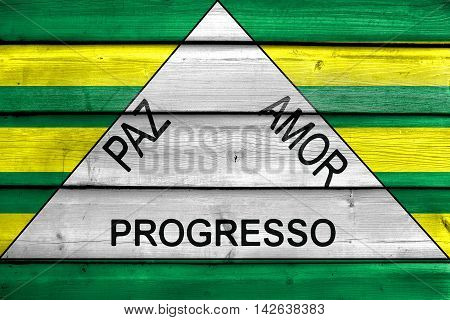 Flag Of Ferros, Minas Gerais State, Brazil, Painted On Old Wood Plank Background