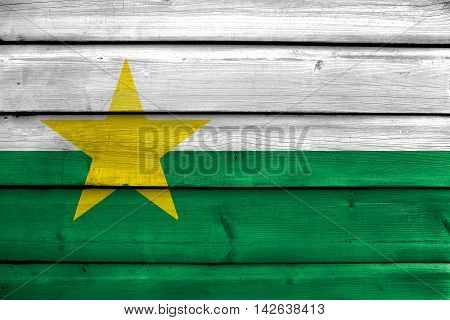 Flag Of Forsyth County, North Carolina, Usa, Painted On Old Wood Plank Background