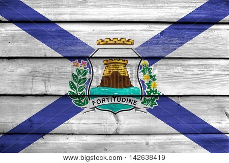 Flag Of Fortaleza, Ceara, Brazil, Painted On Old Wood Plank Background