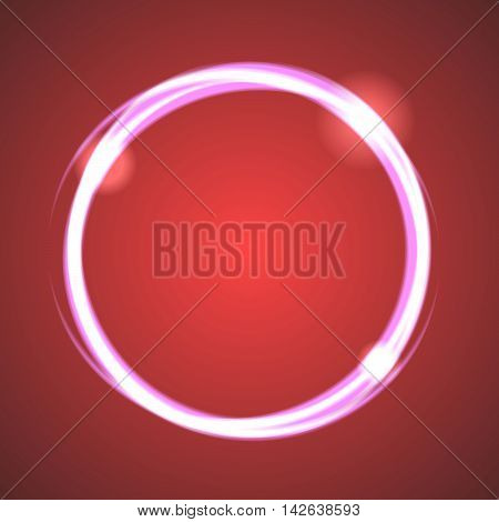 Glow effect eclipse circle vector. Neon light rings on dark red gradient background. Abstract round object.