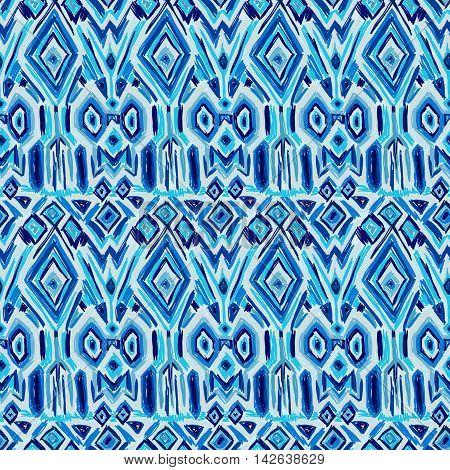 Ikat Tribal Pattern Shibori Ethnic Fabric Blue