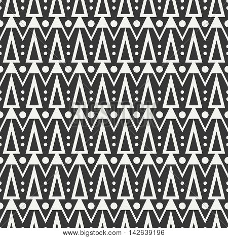 Geometric ethnic tribal seamless pattern. Wrapping paper. Scrapbook. Doodles style. Tribal native vector illustration. Aztec background. Stylish graphic texture for design. Stripes. Black triangle