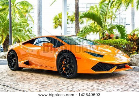 Orange Luxury Sport Car Lamborghini Aventador