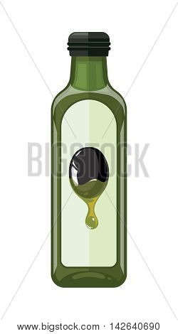 vector illustration of bottle with Olives oil. isolate on light background. Picture in modern flat style for your personal design project.