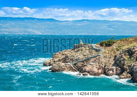 View of Vrbnik on the Island of Krk, strong wind, Croatia