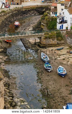 STAITHES ENGLAND - AUGUST 12: High view looking down onto Staithes Beck. In Staithes North Yorkshire England. On 12th August 2016.