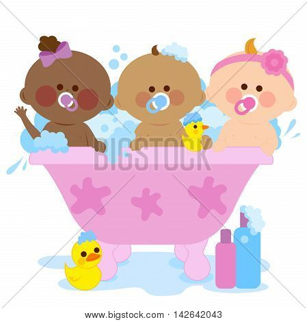 Babies in a bath tub taking a bubble bath and playing with their rubber duck toys.