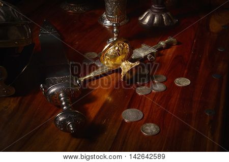 Gladius, Antique Hand Weapon, Helmet On A Table