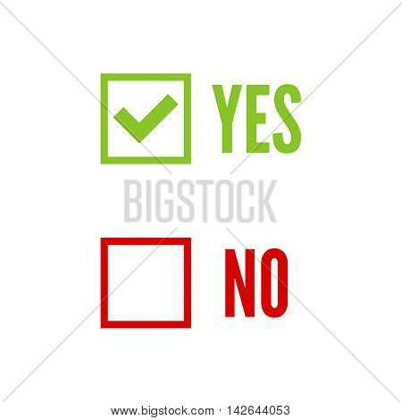 Vector banners with check marks confirmation, acceptance positive passed voting agreement true and form of access denial, refusing, yes, no, checkbox, box poster
