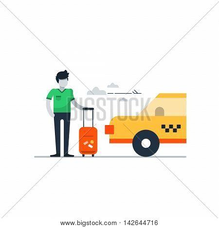 Airport taxi delivery, transportation concept, travel arrangements
