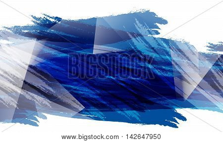 Colorful vector banner with polygonal shapes over white. Elements for your design. Blue paint background. Eps10