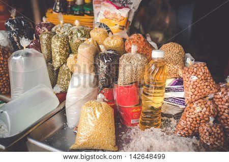 SAIGON VIETNAM JUNE 26 2016: Food on Street.