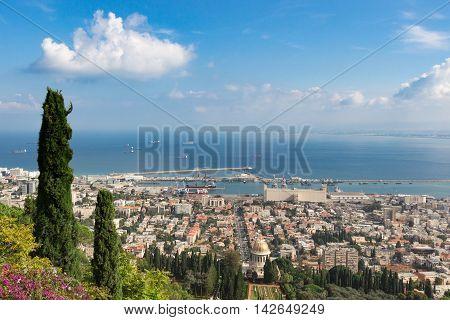 Seaview from mountain at summer. Cityscape. Haifa