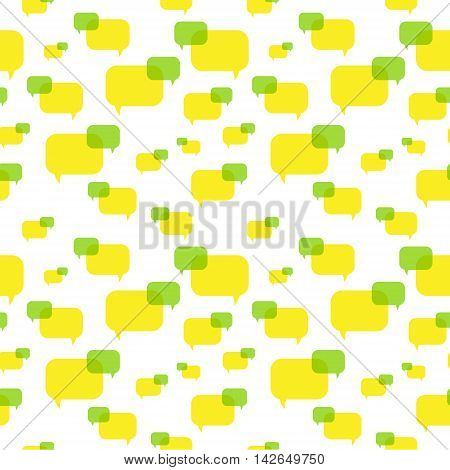 the illustration of speech green and yellow bubbles pattern