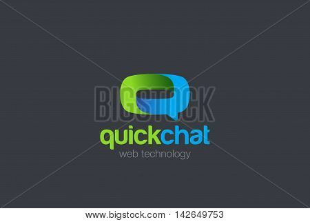 Letter Q Logo Speech Bubble design vector. Chat Logotype icon