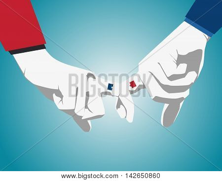 Business man's hand showing pinky or little finger to represent reconciliation promise friendly. Vector flat