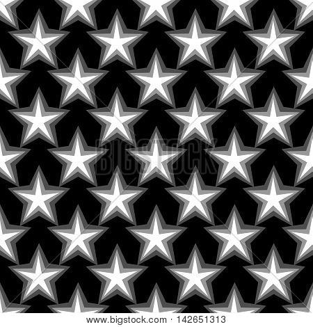 Star geometric seamless pattern. Fashion graphic background design. Modern stylish abstract texture. Monochrome template for prints textiles wrapping wallpaper website Stock VECTOR illustration