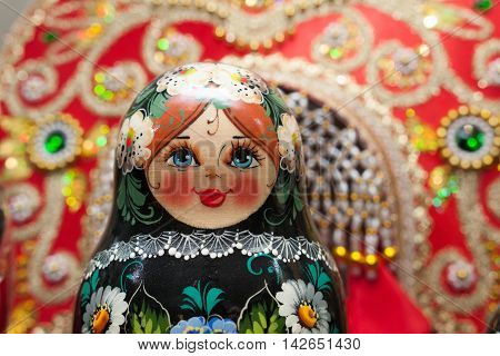 Khokhloma painting wooden traditional russian matrioshka doll