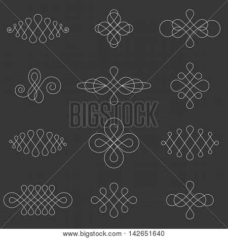 Vector calligraphic lines dividers ,elements and page decoration, symmetry design
