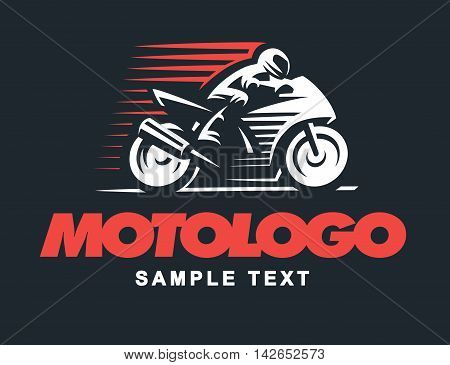 Sport motorcycle logo illustration on dark background
