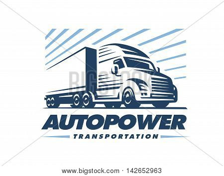 Truck logo illustration on white background. Emblem design