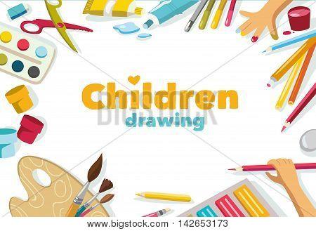 Children drawing white color background, banner design