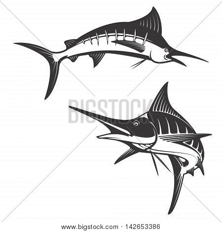 Marlin fish icons. Design elements for fishing club or team. Seafood. Vector illustration.